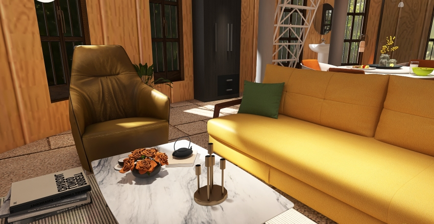 Egg Shaped house Interior Design Render