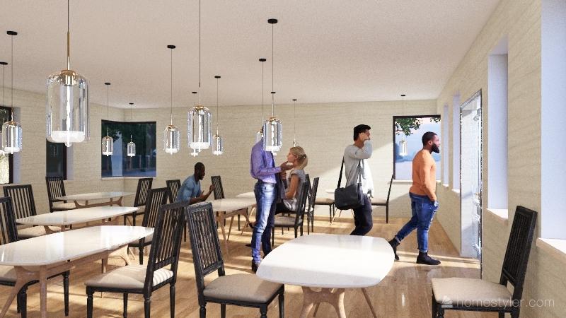 Starbucks Coffee Interior Design Render