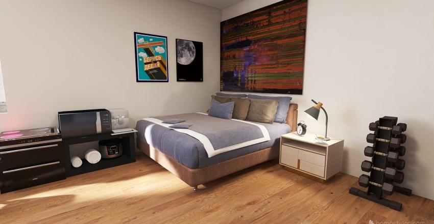 Minimalistic apartment Interior Design Render
