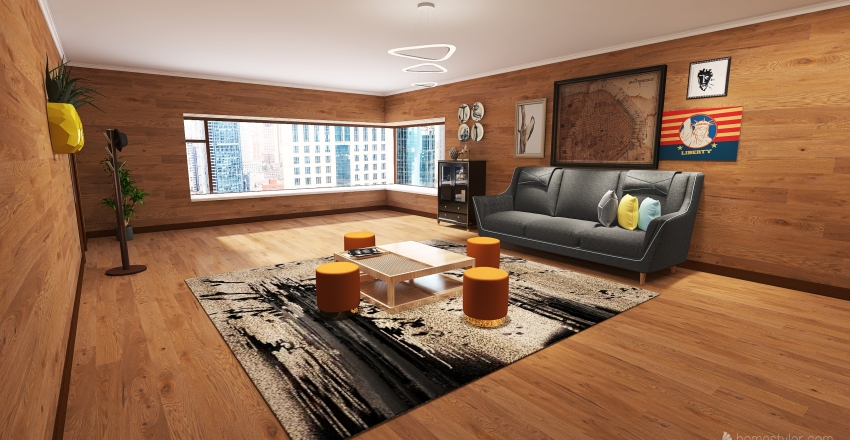 Small wood apartment Interior Design Render