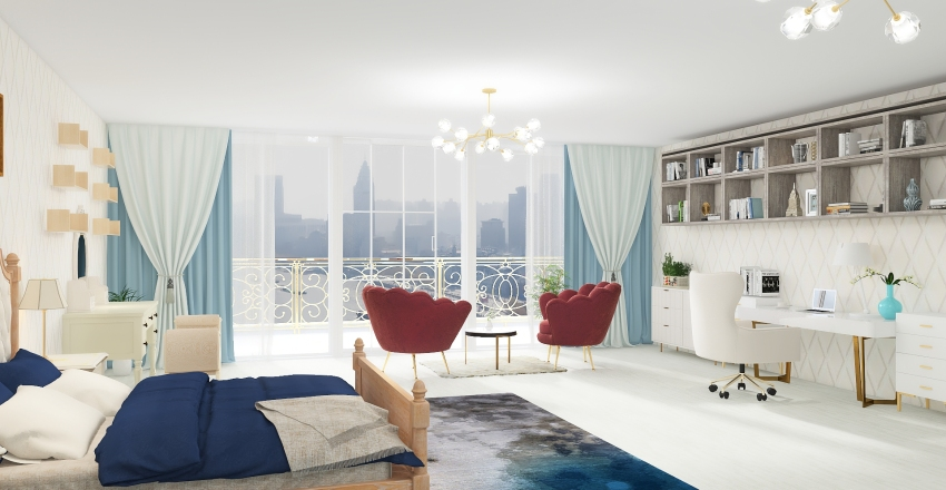 Penthouse bedroom Interior Design Render
