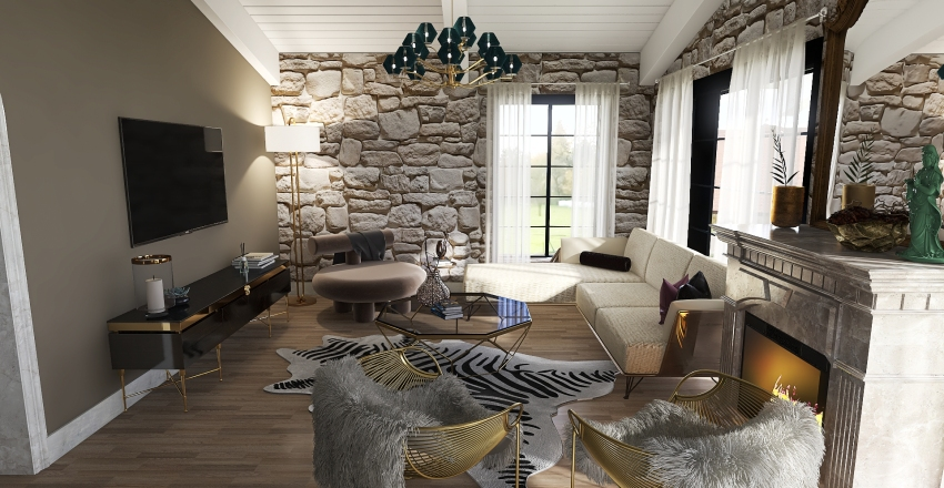 Traditional Stone House Interior Design Render