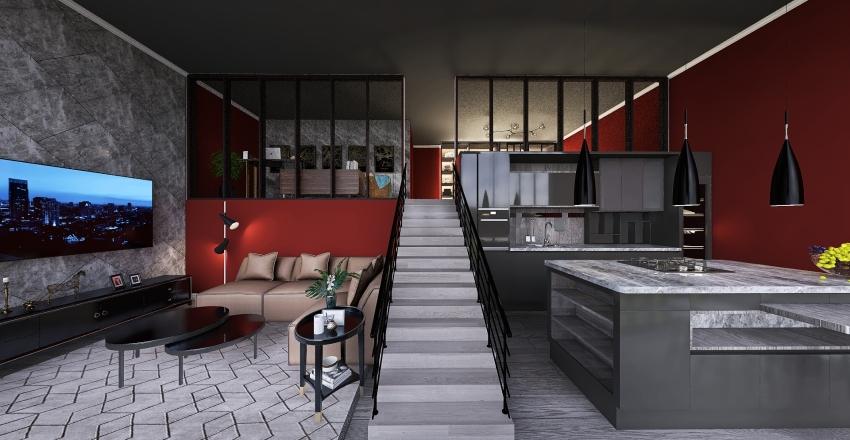 v2_Split Level Living Interior Design Render