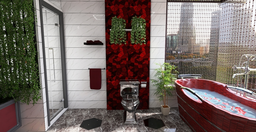 The Red Comfort (15 Sqm Toilet & Bath) Interior Design Render