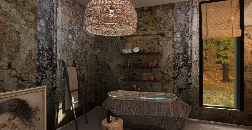 Warm Wabi Sabi Interior Design Render