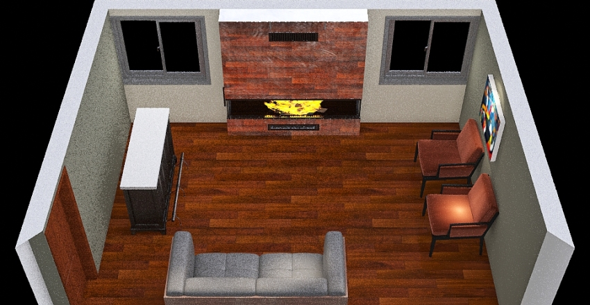 Family Room with Bar Interior Design Render