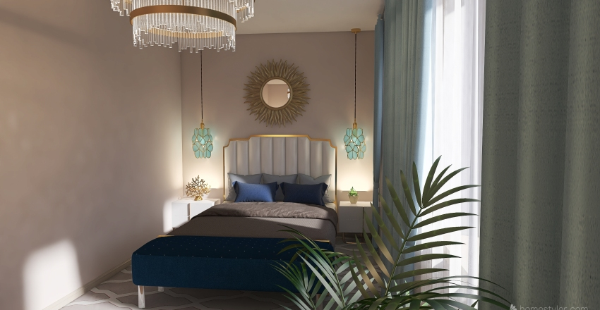 Slons project bedroom with a fireplace Interior Design Render