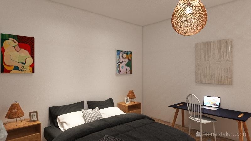 modern bohemian masterbedroom Interior Design Render