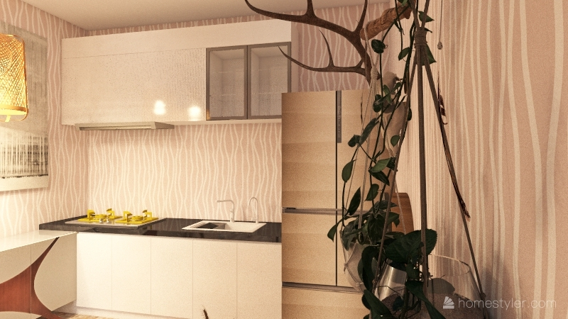 Boho Apartment Interior Design Render