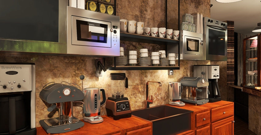 A coffee house Interior Design Render