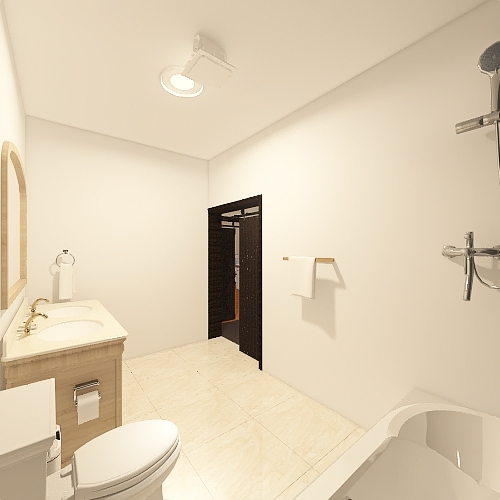 Living room/ Kitchen/ Bed and bath Interior Design Render