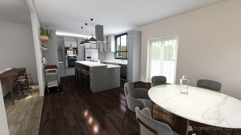Kitchen Corner Pantry Interior Design Render