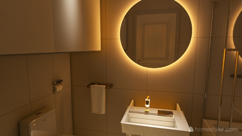 ciemna lazienka Interior Design Render