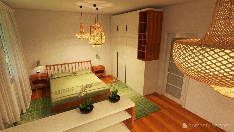 Combined  kids & bedroom increased space Interior Design Render