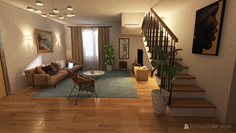 Modern Bohemian Home Interior Design Render
