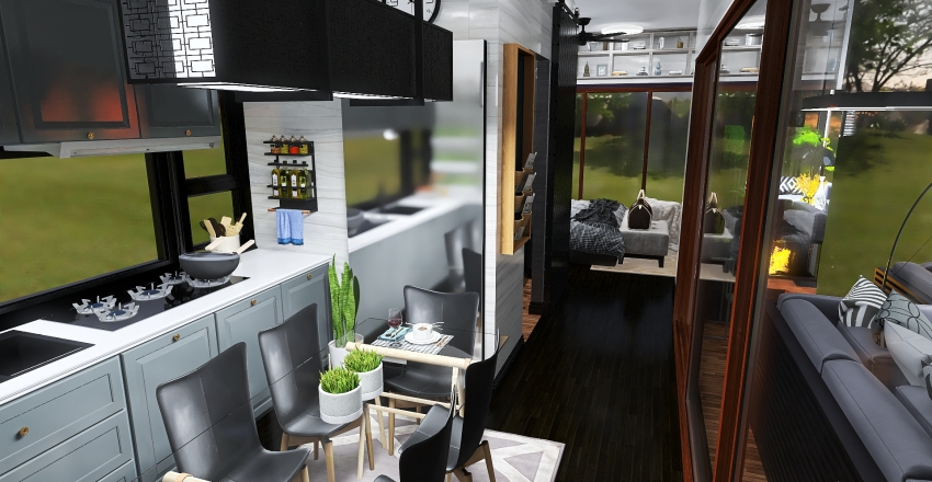 Luxury Tiny House with Outdoor Living Room Interior Design Render