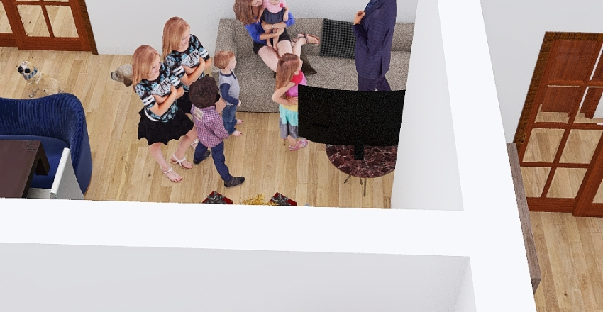 Family House of 8 Interior Design Render