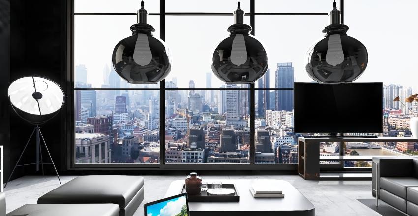v2_Amsterdam concrete loft Interior Design Render