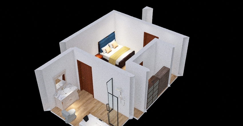 bedroom,bathroom Interior Design Render