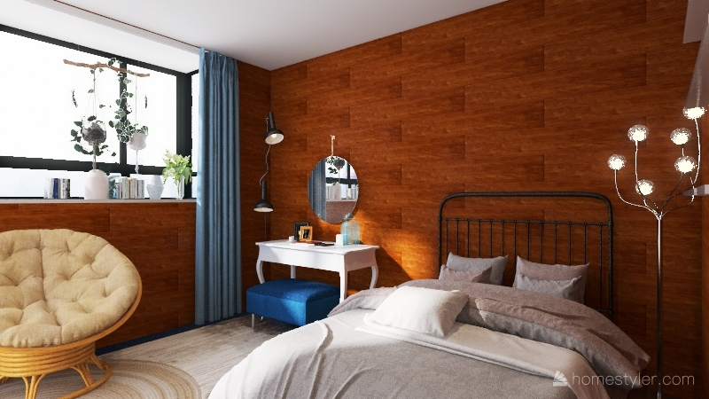 Wood panelling Bedroom Interior Design Render