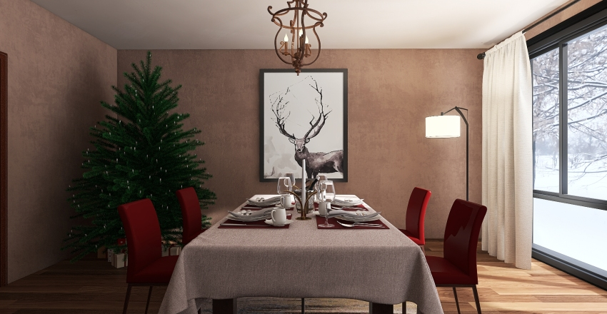 Christmasy Interior Design Render