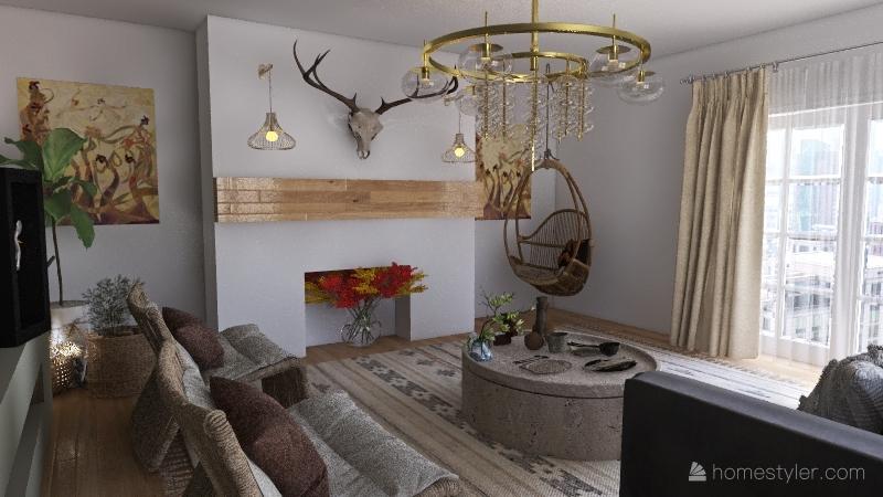 spanish lving Interior Design Render