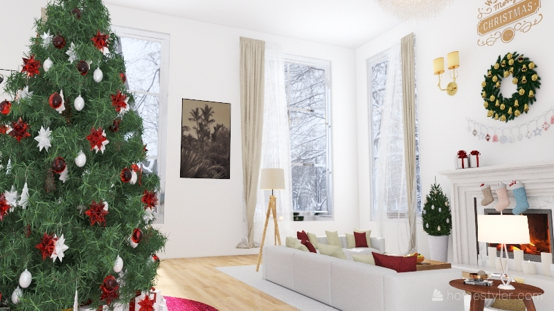 Christmas-Decorated living and dining room in the woods Interior Design Render