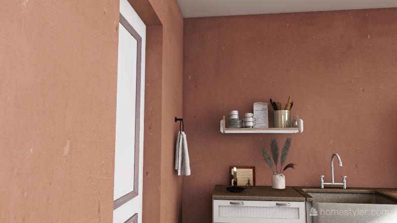 Small Modern Boho Apartment Interior Design Render