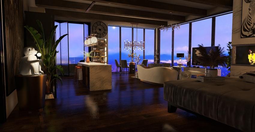 Modern Art-Deco Condo Interior Design Render