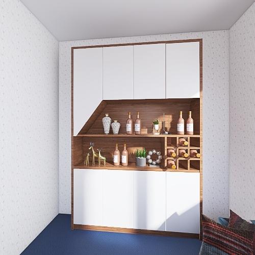 Small Bold Colored House/Apartment Interior Design Render