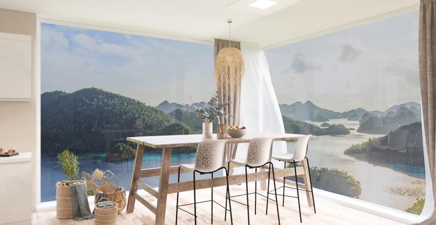 Boho and wabi sabi by the sea. Interior Design Render