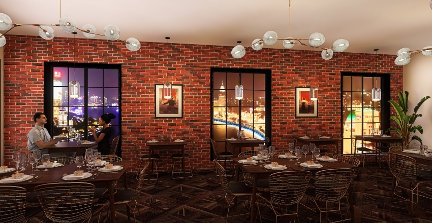 Italian Restaurant in New York Interior Design Render