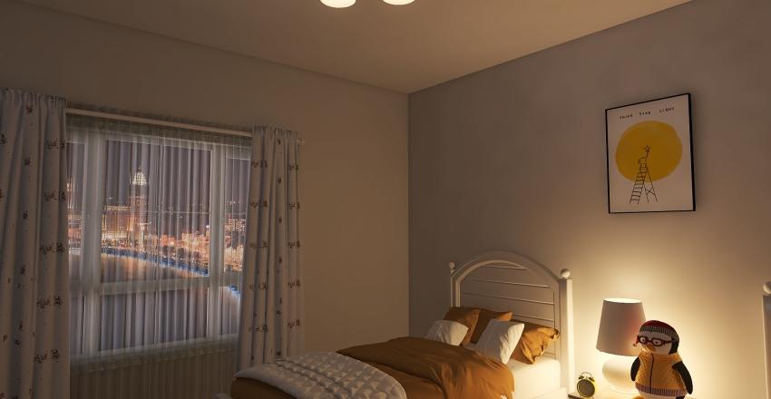 Yellow Twins Bedroom Interior Design Render
