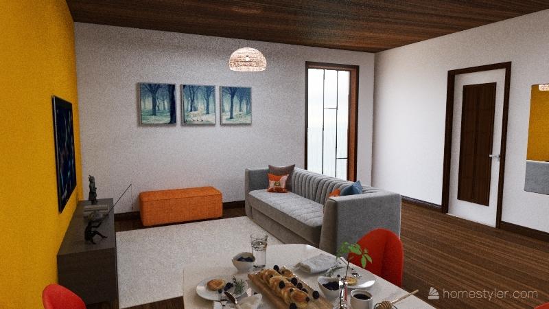 Small colorful Loft Interior Design Render