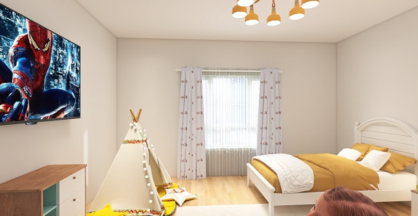 Yellow Twins Bedroom Interior Design Render
