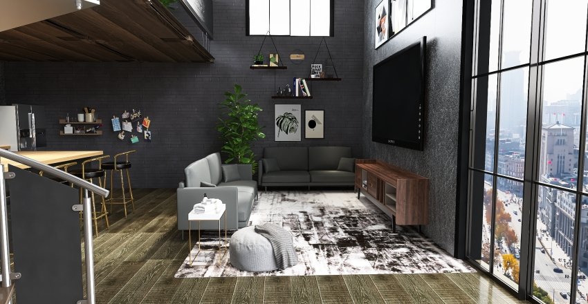 industrial loft Interior Design Render