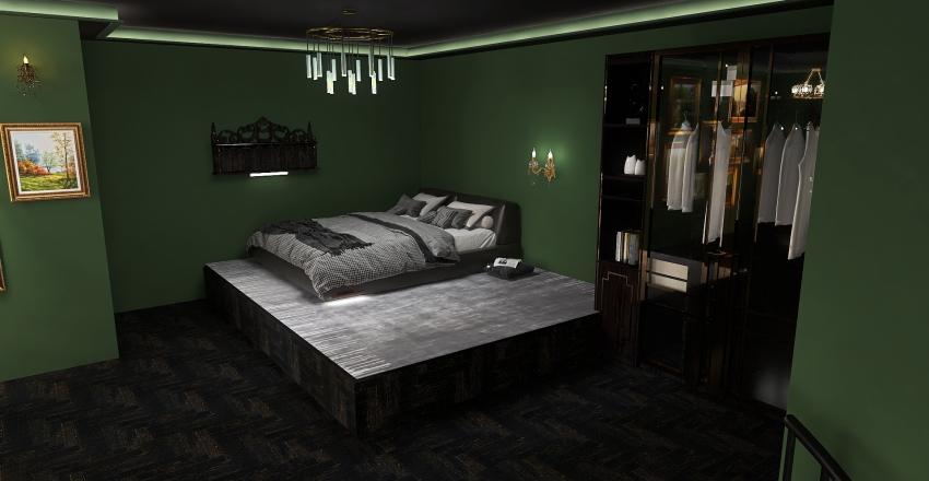 green royal darkacademia Interior Design Render
