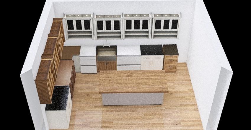 Island Kitchen Interior Design Render