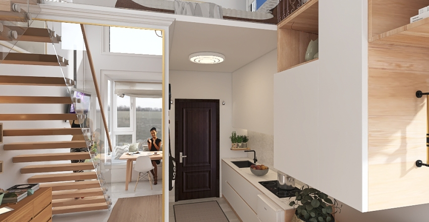 Minimalist Compact Tiny House Apartment with Lofted Bedroom Interior Design Render