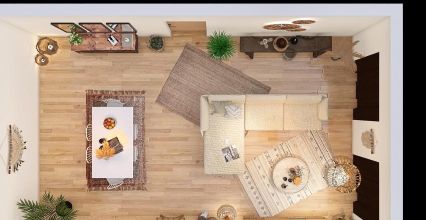 Bohemian living room Interior Design Render