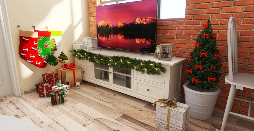 Christmas in tiny house Interior Design Render