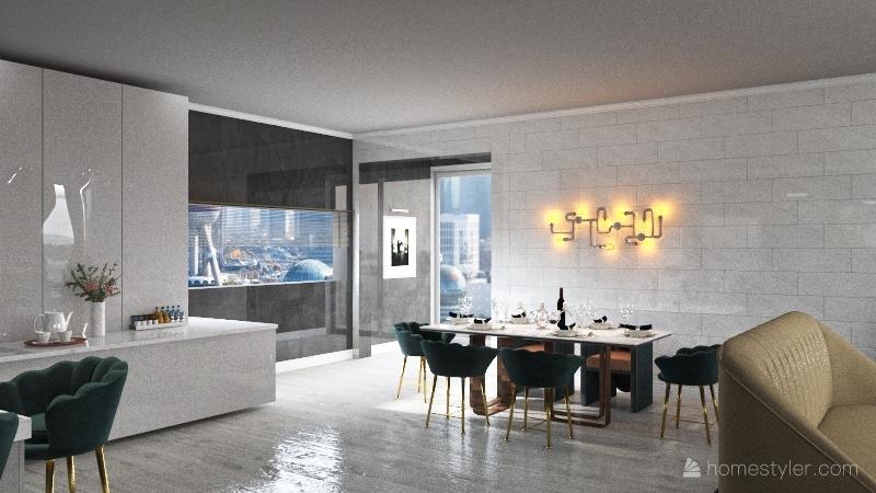 apartment living space Interior Design Render