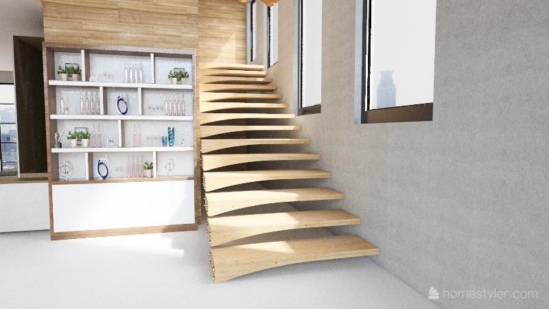 Madeira e cimento Interior Design Render