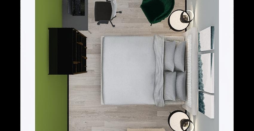 Sypialnia oliwkowa Interior Design Render