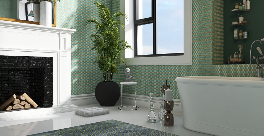 Green Tones in Bathroom Interior Design Render