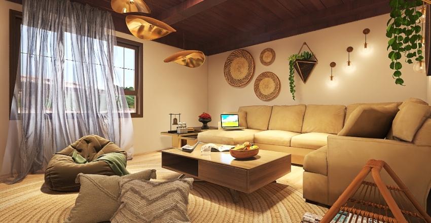 Modern Bohemian living room Interior Design Render