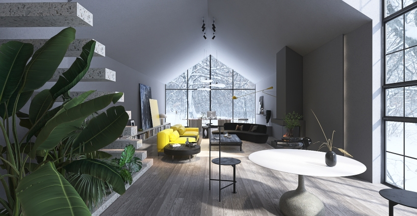 Pantone 2021 Model Collection-Ultimate Grey and Illuminating Interior Design Render