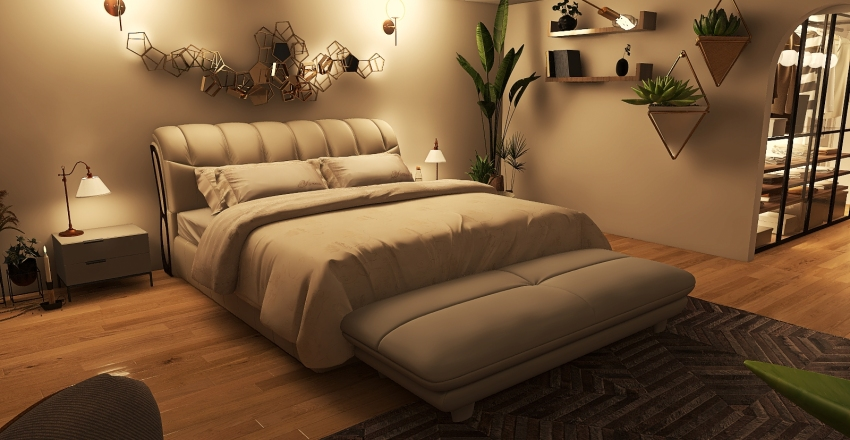Simple Boho master bedroom Interior Design Render