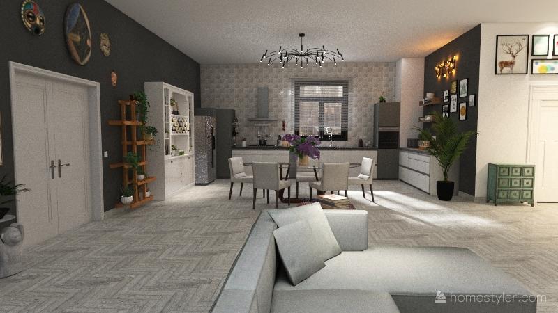 APPARTAMENTO 3 CAMERE Interior Design Render