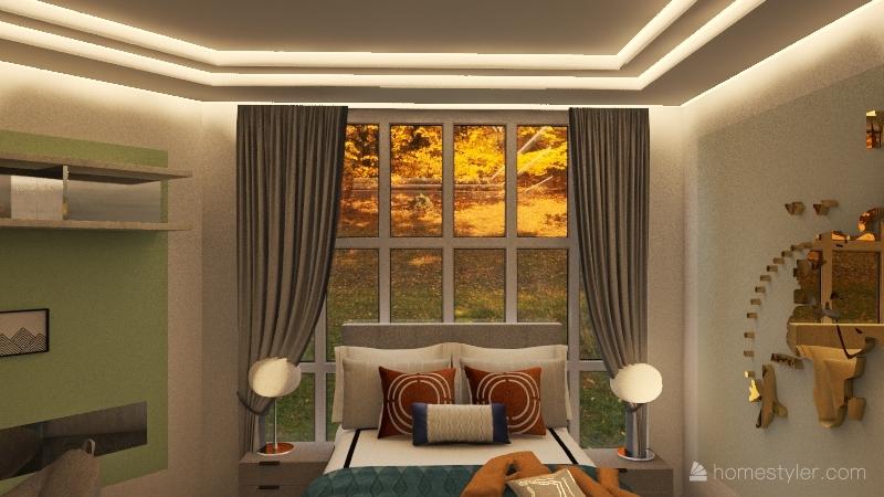 Wood house Interior Design Render